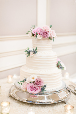 Wedding Cake with Pale Purple Flowers