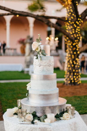 Wedding Cake with Silver Details