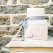 Wedding Cake with Watercolor Painting