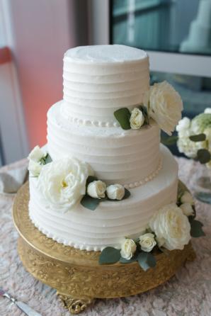Wedding Cake with White Sugar Flowers