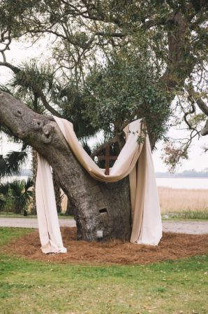 Wedding Ceremony Altar Draping on Tree