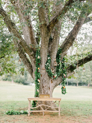 Wedding Ceremony Tree with Garland and Lanterns