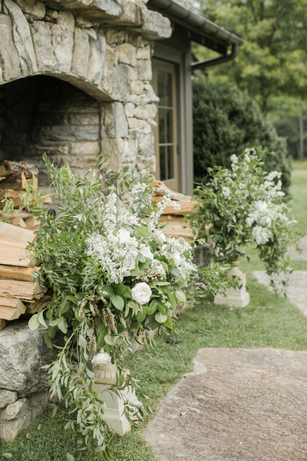 Wedding Ceremony by Outdoor Fireplace