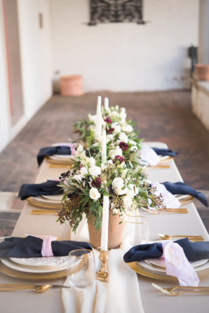 Wedding Table with Navy and Gold Details