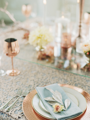 Wedding Table with Peach and Gold Details