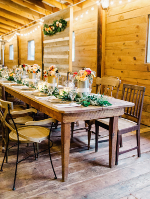 Wood Tables and Mismatched Chairs at Wedding