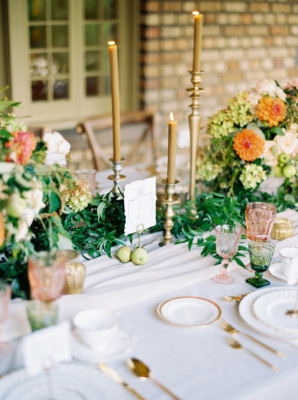 Amber and Green Wedding Table