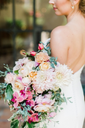 Arm Bouquet with Orchids and Dahlias