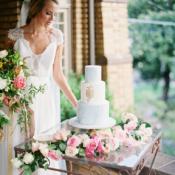 Blue Marble Wedding Cake on Vintage Table