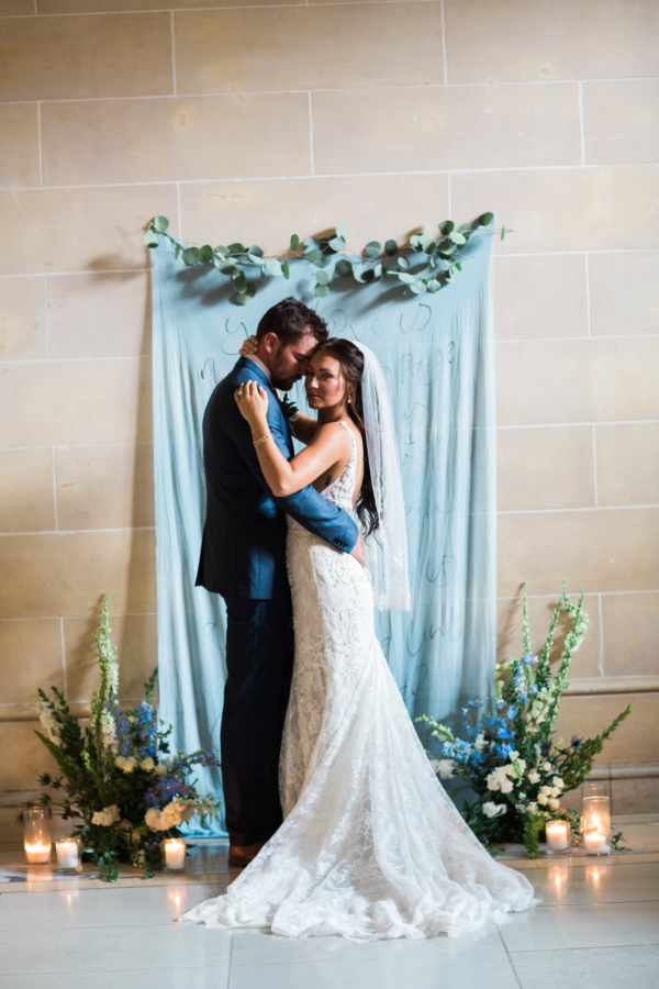 Blue and Green Wedding Ceremony Backdrop