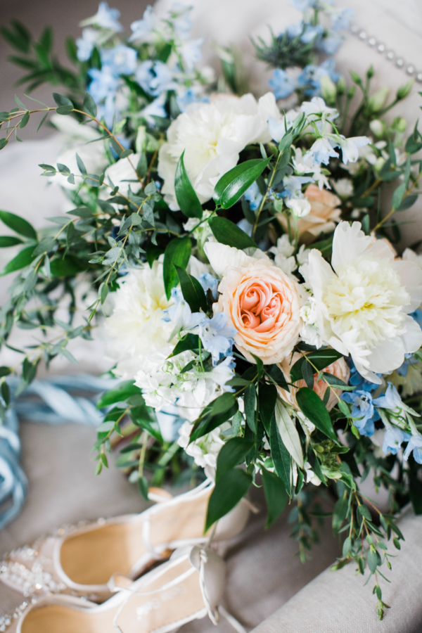 Blue and White Bride Bouquet
