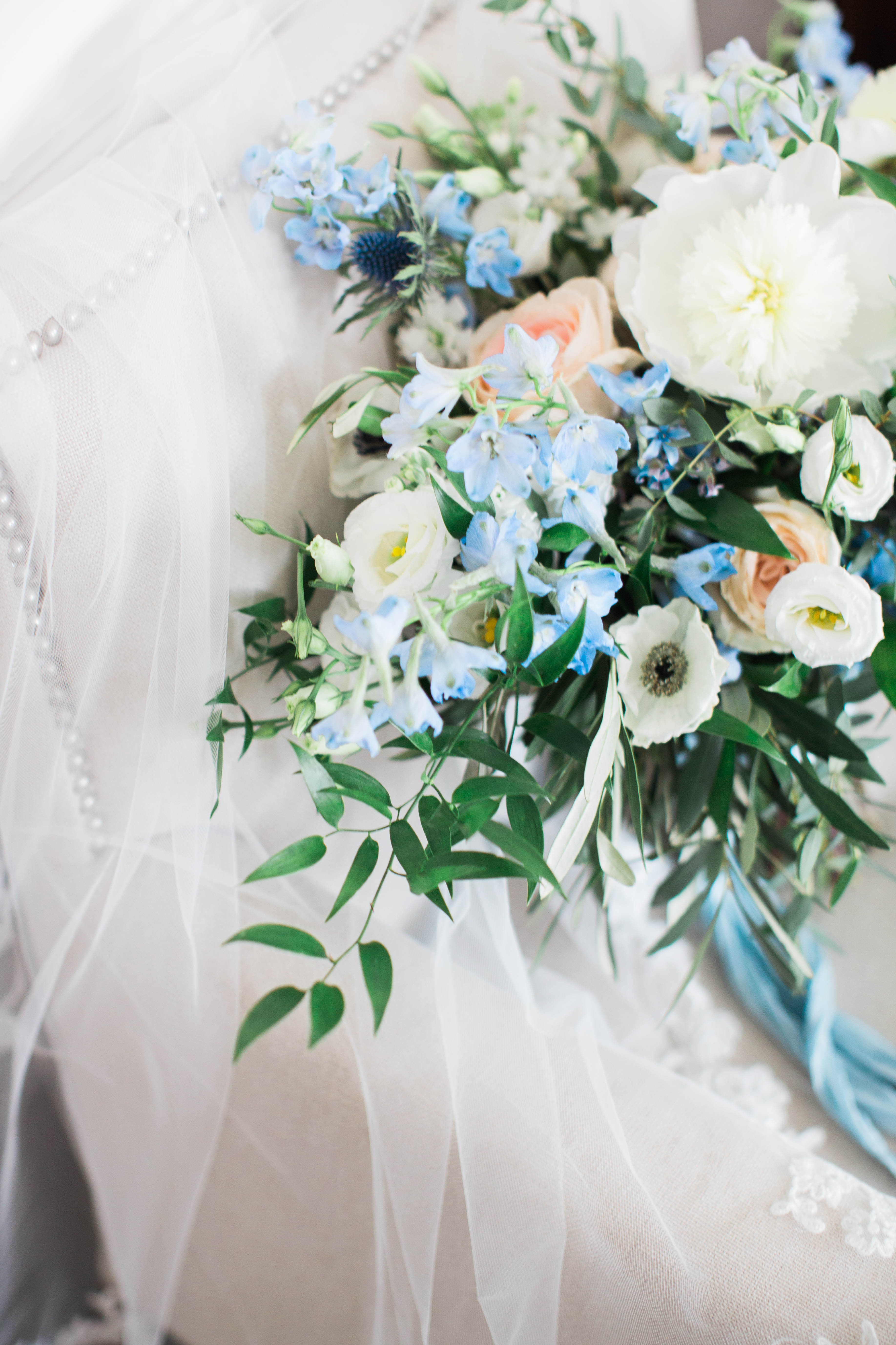 Bouquet Of Blue And White Flowers Elizabeth Anne Designs The