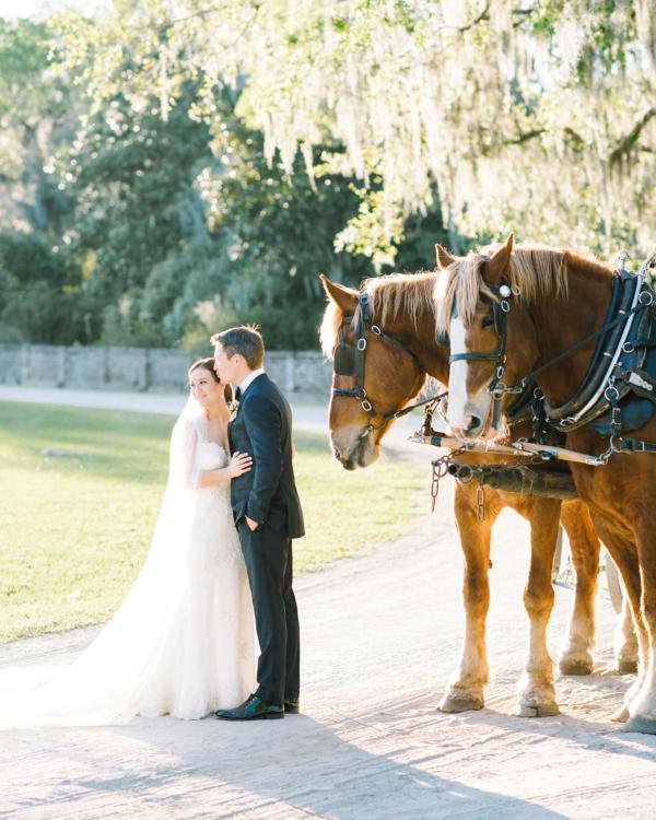 Bride and Groom on Charleston Plantation