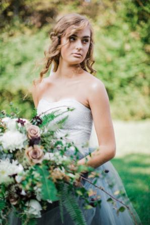 Bride in Blue Tulle Wedding Dress 2