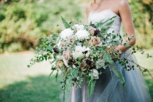 Bride in Blue Tulle Wedding Dress 4