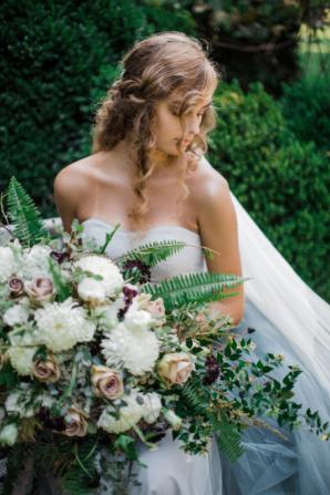 Bride in Blue Tulle Wedding Dress 7