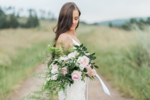 Bride with Organic Arm Bouquet