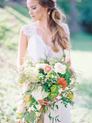 Bride with Romantic Large Greenery Bouquet