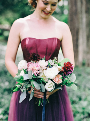 Bridesmaid in Corset Inspired Gown