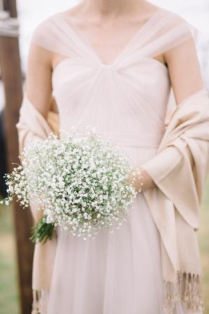 Bridesmaid with Babys Breath Bouquet