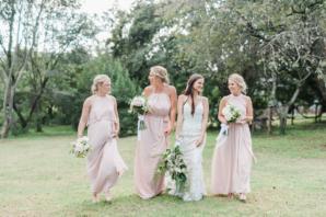 Bridesmaids in Pink Chiffon Dresses
