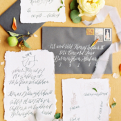 Calligraphy Invitations on Handmade Paper
