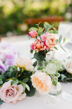 Centerpiece of Bud Vases and Greenery