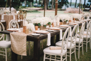 Champagne and Wood Wedding Reception