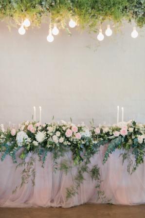 Elegant Greenery and Silk Wedding Table