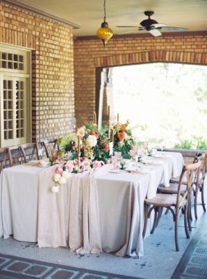 Elegant Pink and Amber Wedding Table