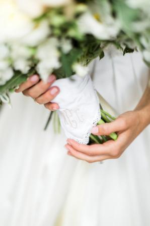 Embroidered Handkerchief Around Bouquet