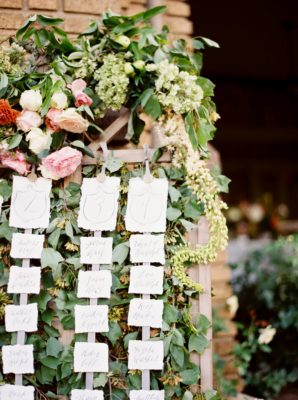 Escort Cards on Greenery Bed