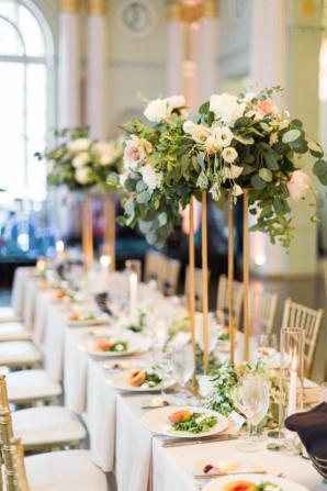 Eucalyptus and Rose Tall Centerpiece