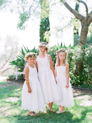 Flower Girls in White Lace Dresses