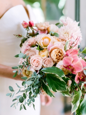 Garden Rose and Orchid Bouquet with Peach and Pink