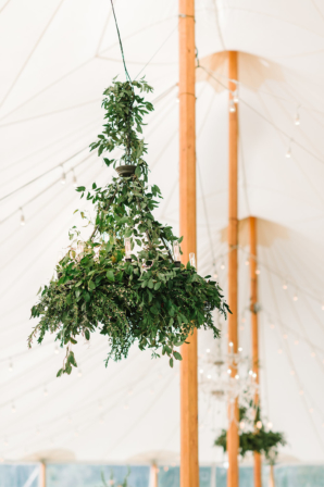 Greenery Chandeliers in Tent
