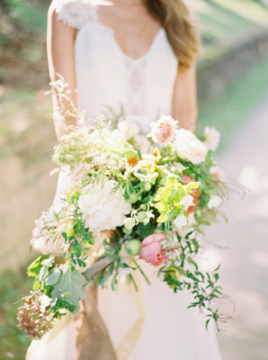 Greenery and Ivory Peony Bouquet