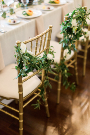 Greenery on Bride and Groom Chairs