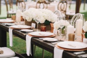 Ivory and Wood Wedding Reception