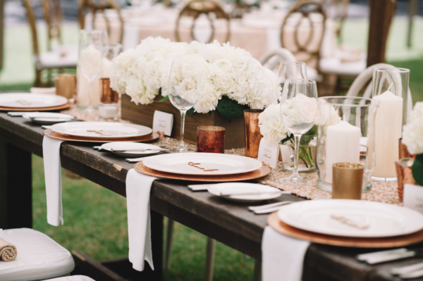 Ivory and Wood Wedding Reception