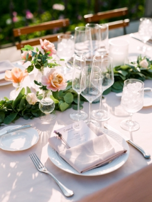 Light Pink and Green Outdoor Wedding Reception