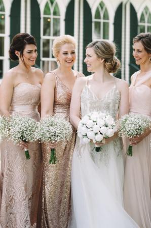 Mismatched Champagne Bridesmaids Dresses