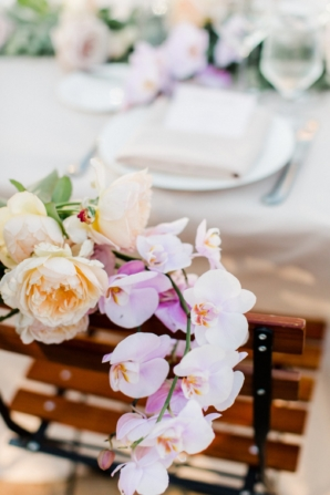 Orchid and Peony Wedding Chair Flowers