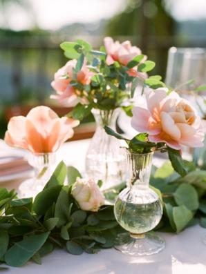 Peach Peonies in Bud Vases