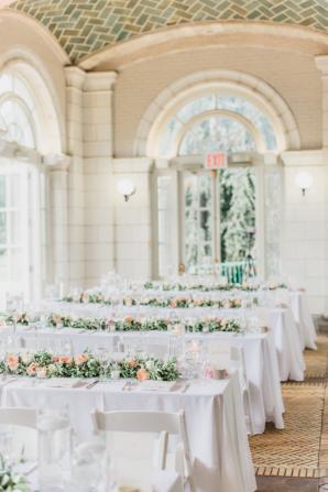 Peach and White Indoor Wedding