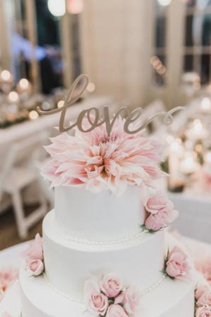 Pink Wedding Cake with Dahlias