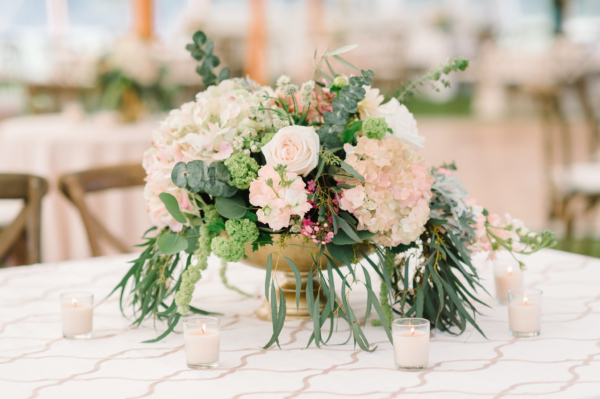 Pink White and Green Centerpiece