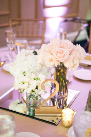 Rose and Hydrangea Centerpiece with Mirror