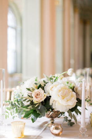 Rose and Peony Centerpiece with Candles