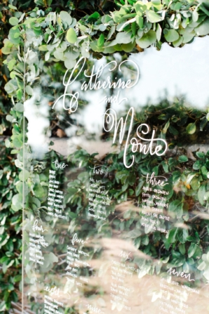 Seating Chart for Wedding on Glass